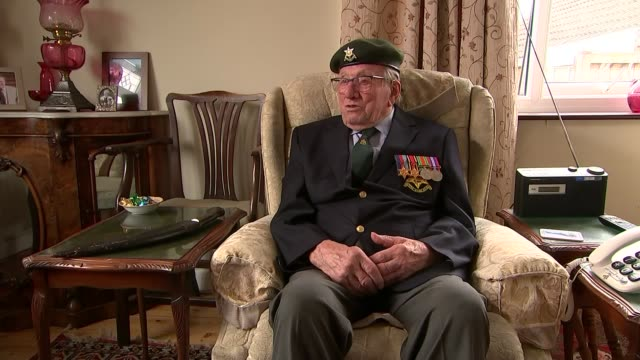 interview with veteran sergeant jim posnett; england: leicestershire: melton mowbray: int sergeant jim posnett interview sot - vj演出点の映像素材/bロール