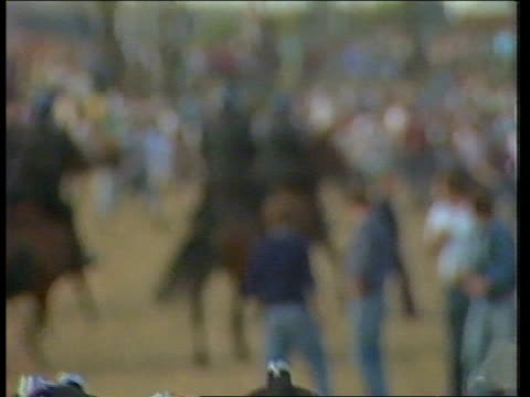 day 99 england yorkshire sheffield orgreave ls three police lines at intervals in front of mass pickets ts mass police in riot helmets through other... - 1984 stock-videos und b-roll-filmmaterial
