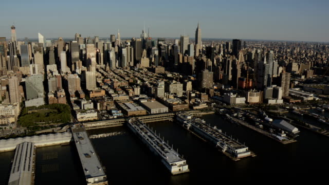 day aerial of new york city manhattan usa - british aerospace concorde stock videos and b-roll footage