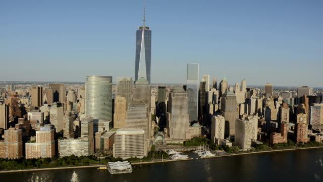 vídeos de stock e filmes b-roll de day aerial of new york city manhattan usa - world trade centre manhattan