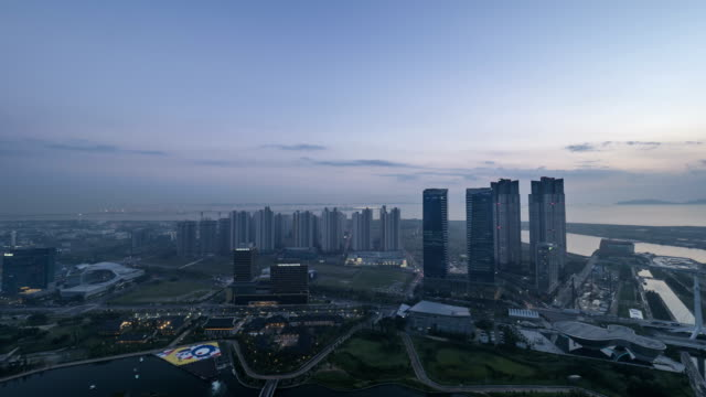 Day and Night of Songdo Central Park in Incheon