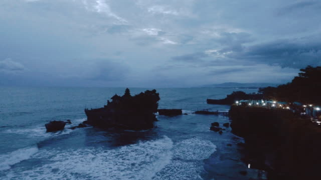 day and night series landscape Tanah lot temple landmark and popular place of bali