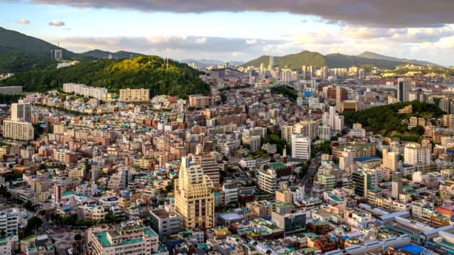 day and night view of wondoshim(old downtown), jung-gu district, busan - busan stock videos & royalty-free footage