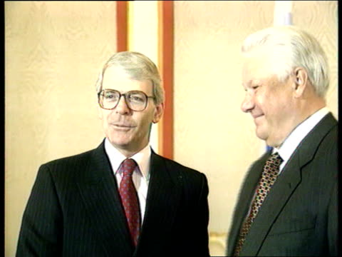 day anniversary celebrations; int cms yeltsin along r-l as shakes major cms major and yeltsin pose for cameras ext cms pm john major intvwd sot -the... - boris yeltsin stock videos & royalty-free footage