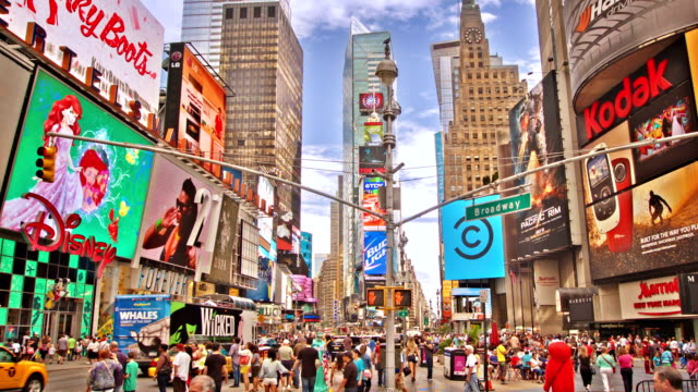 day at times square in new york city - manhattan theater district stock videos and b-roll footage