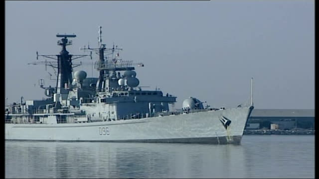 british evacuees arrive in cyprus evacuee from hms gloucester cyprus limassol ext british royal navy warship hms gloucester carrying british evacuees... - warship stock videos & royalty-free footage