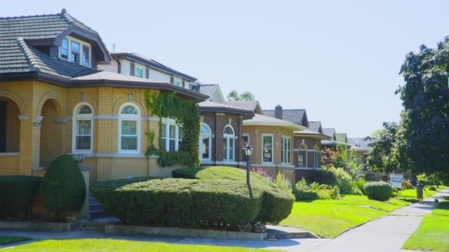 day exterior row of bungalow houses - pampered dog stock videos and b-roll footage