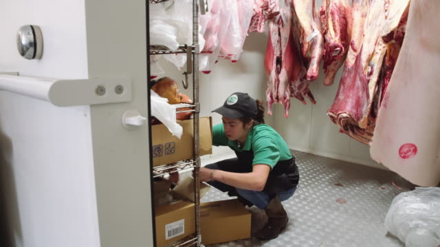 A day in the life of a female butcher: woman in the fridge