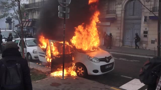 a day of riots has erupted in paris on the first anniversary of the 'yellow vest' protests against sweeping government reforms - paris france stock videos & royalty-free footage