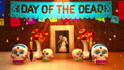 Day of the dead, Mexican ofrenda with a picture and lettering in English