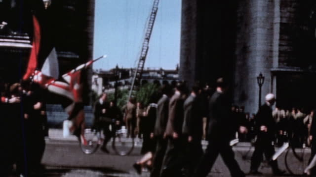 day parade / paris france - ve day stock-videos und b-roll-filmmaterial
