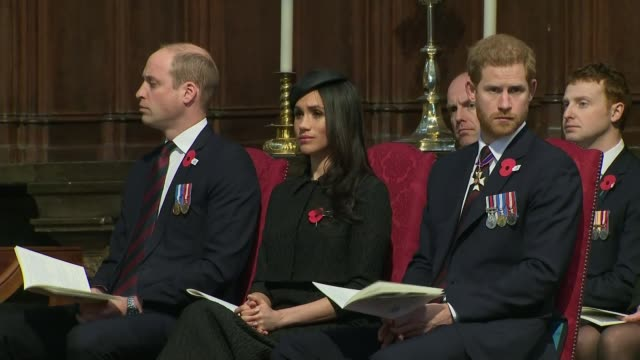 day service at cenotaph; westminster abbey: int prince william, duke of cambridge, meghan markle and prince harry attending anzac day service **music... - anzac day stock videos & royalty-free footage