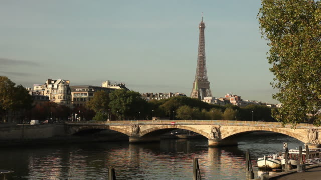 Day shot of the river Seine and Eiffel tower