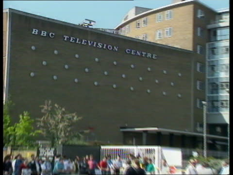 day 1; rushes not kept england, london, bbc tv centre white city av 'bbc television centre' sign on wall pull out pickets - bbc stock videos & royalty-free footage