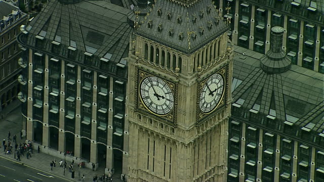 Day time close up shot of Big Ben and The Houses of Parliament tracking left to right AERIAL CU Big Ben Houses of Parliament on November 01 2011 in...