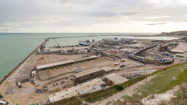 day time lapse footage of the port of dover, uk - docks stock videos & royalty-free footage