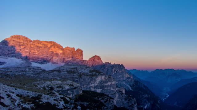 day to dusk rock mountain ,dolomite timelapse - day to dusk stock videos & royalty-free footage