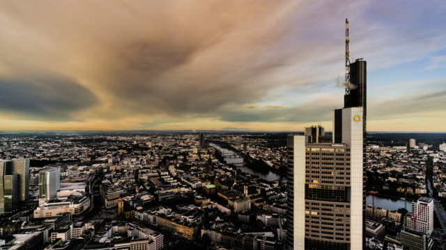 day to dusk time-lapse of view over frankfurt - day to dusk stock videos & royalty-free footage