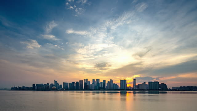 day to night 4k time-lapse:hangzhou skyline at sunset,china - distant stock videos & royalty-free footage