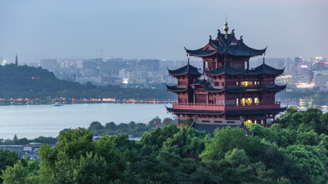 Day to Night 4K Time-lapse:Illuminated Chenghuang Pagoda against the West Lake at sunset,Hangzhou,China