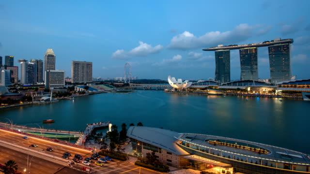 Day to Night across Singapore Marina Bay