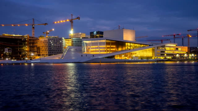 day to night t/l at oslo opera house, oslo, norway - season stock videos & royalty-free footage