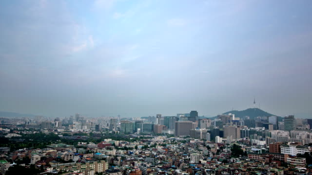 day to night cityscape of seoul - 昼から夜点の映像素材/bロール