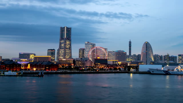 day to night hd time-lapse: yokohama cityscape in action - yokohama stock videos and b-roll footage