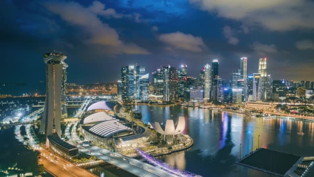 day to night hyper lapse of the singapore skyline and financial district at dusk, showing marina bay - helix bridge stock videos & royalty-free footage