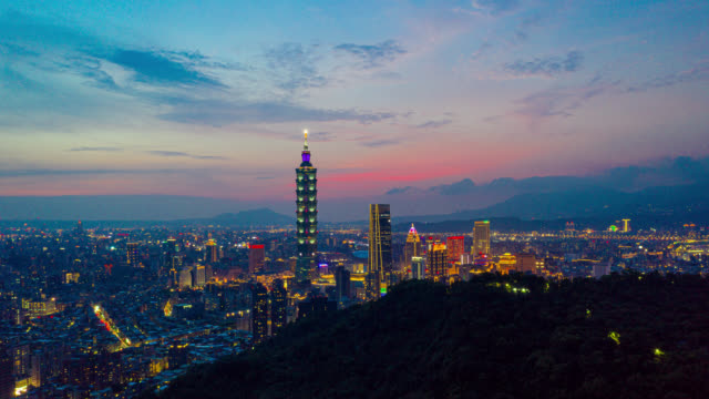 day to night hyperlapse or dronelapse aerial view of business district in city of taipei, taiwan - taipei stock videos & royalty-free footage
