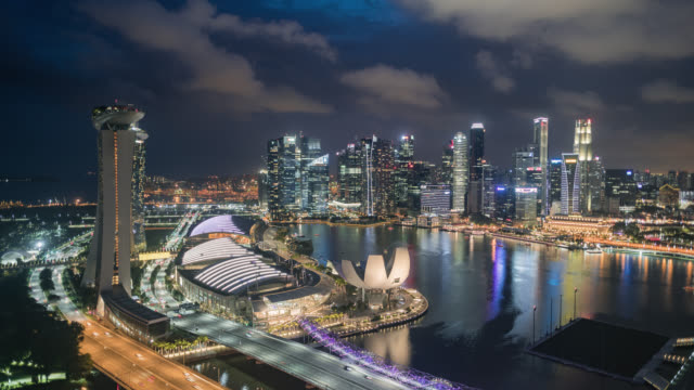 vidéos et rushes de tl/hl day to night hyperlapse/time lapse of singapore skyline from the singapore flyer, showing financial district - international landmark