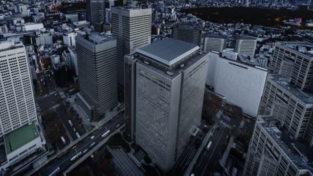 Day to night overlooking time-lapse of Shinjuku Ward, Tokyo, Japan