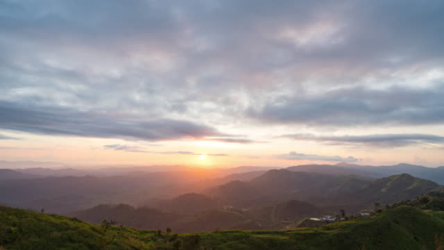day to night shot: sunset over mountains with cloudy sky, time lapse video - day stock videos & royalty-free footage
