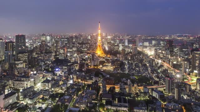 TL, MS Day to night skyline of Tokyo Skyline with Tokyo Tower, Hamamatsucho, Shiodome, and Shinbashi skyscrapers /Tokyo, Japan