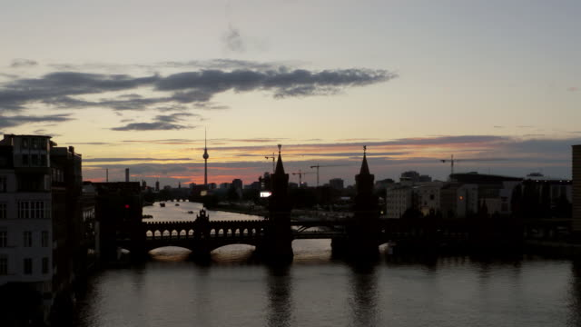 TL Day To Night. Sunset Berlin with Oberbaumbrücke and TV Tower