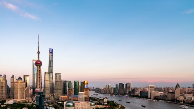 Day to Night /Time Lapse /Aerial View of Downtown Shanghai at Dusk