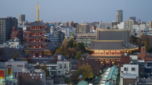 stockvideo's en b-roll-footage met 4k day to night time lapse asakusa kannon temple at night. senso-ji sensoji - traditie