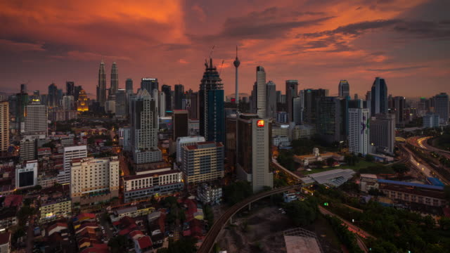 day to night time lapse at kuala lumpur - sunset to night stock videos & royalty-free footage