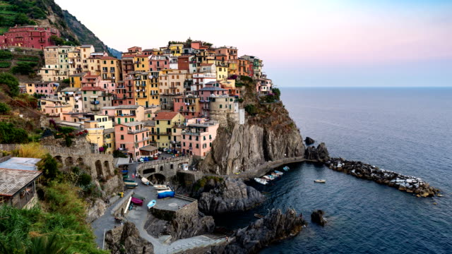 Day to night time lapse at Manarola, Cinque Terre, Italy