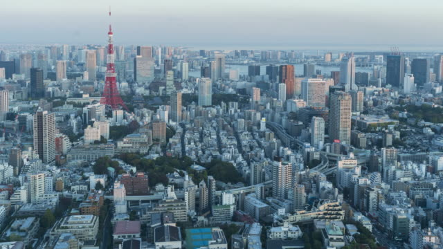 4k day to night time lapse elevated view of tokyo tower and crowded skyscrapers in tokyo, japan - 昼から夜点の映像素材/bロール