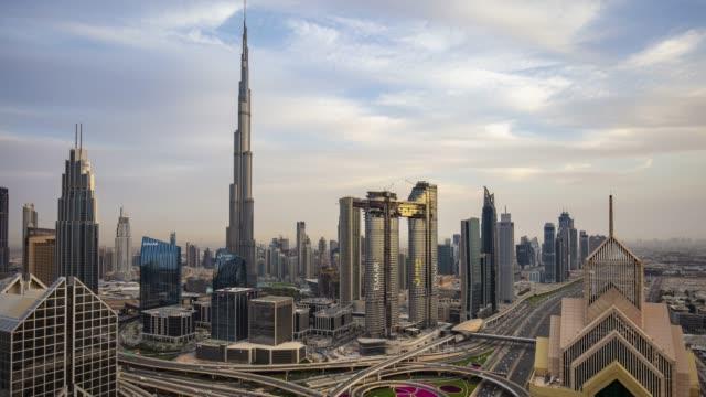 Day to night time lapse in Dubai, UAE
