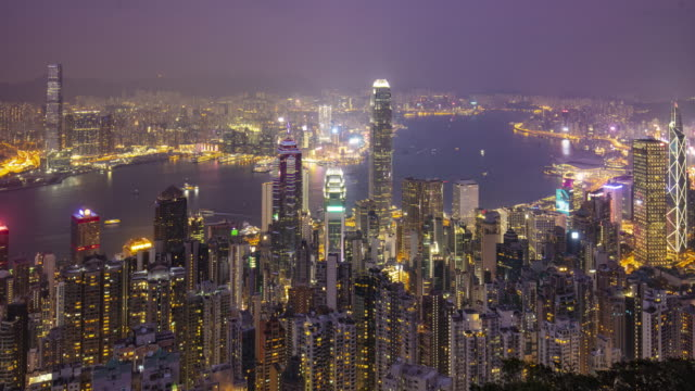Day to night time lapse in Hong Kong