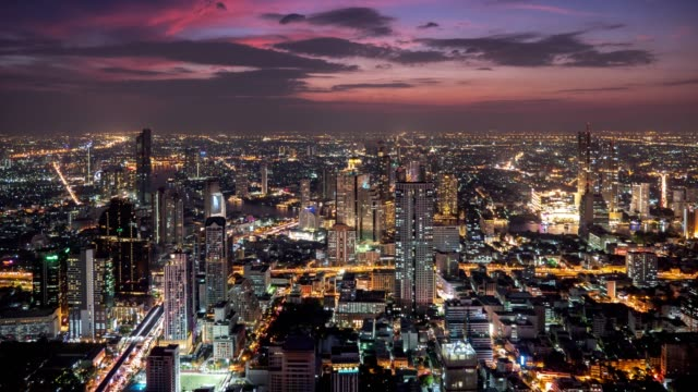 Day to night Time Lapse of Bangkok City landmark of southeast asia at Central downtown of Bangkok , Thailand