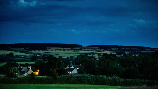 day to night time lapse of bucolic scene in oxfordshire - england stock videos & royalty-free footage
