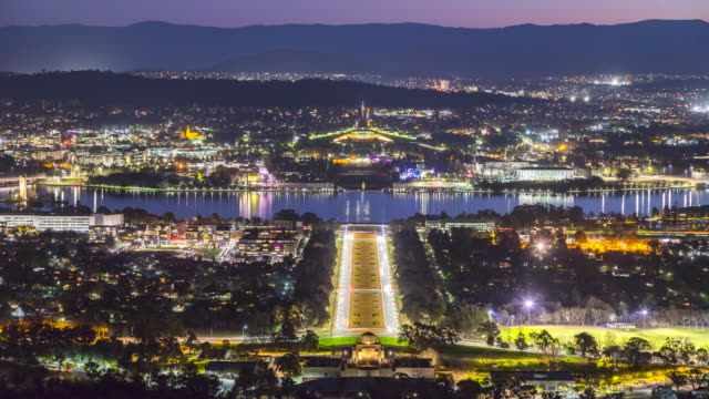 4k day to night time lapse of canberra, australia. - long exposure stock videos & royalty-free footage