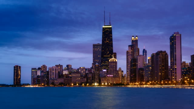 Day to night time lapse of Chicago skyline from Lake Michigan