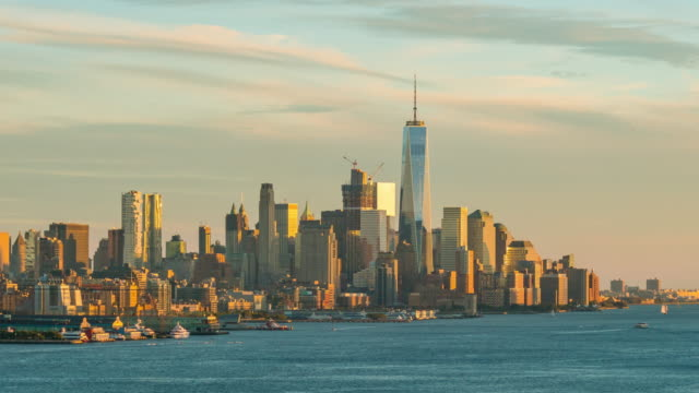 Day to night time lapse of downtown New York City skyline