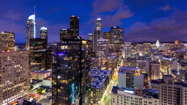 day to night time lapse of dtla from above - day to night time lapse stock videos & royalty-free footage