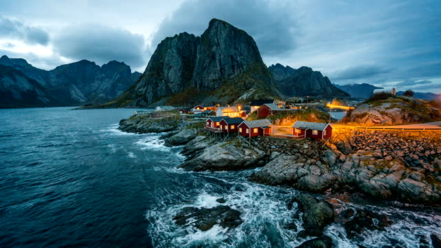 day to night time lapse of lofoten, norway - cottage stock videos & royalty-free footage