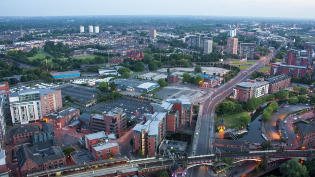 day to night time lapse of manchester from the top of hotel - manchester england stock videos & royalty-free footage
